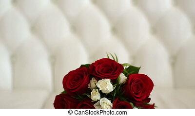 wedding bouquet in white sofa