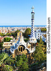Park Guell by architect Antoni Gaudi, Barcelona, Spain