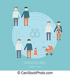 Nontraditional family icons - Nontraditional family flat...