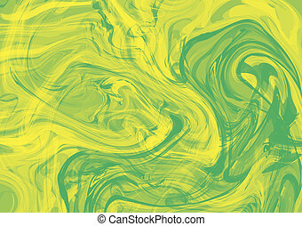 Bright splash of green and yellow paint, horizontal abstract...