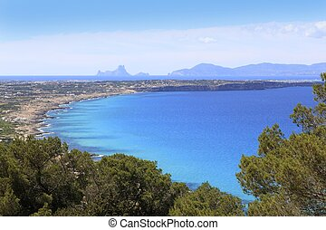 aerial view Formentera balearic island Ibiza horizon