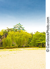 Nagoya Castle Clear Blue Sky Day Above Treeline V - Historic...
