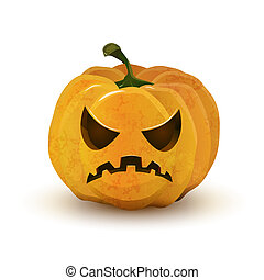 Halloween pumpkin with terrible face isolated on white -...