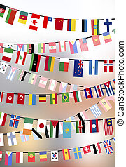 Countries flags hangs on the ropes - Different countries...
