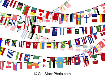 Different countries flags on the ropes - Different countries...