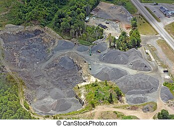 Sand Quarry - aerial view of a sand and gravel quarry