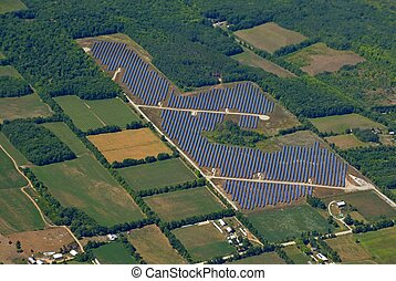 Solar energy Farm aerial - aerial view of a Solar energy...
