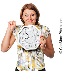 Emotional girl with the clock