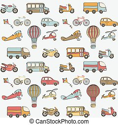 transport kids seamless pattern. vector illustration - eps 8
