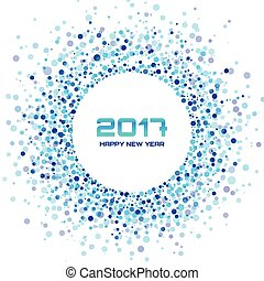 Blue Circle New Year 2017 confetti frame on white...