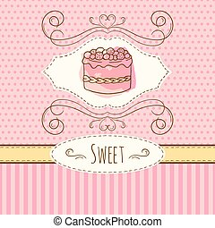 Cake illustration. Vector hand drawn card with watercolor splashes. Sweet polka dots and stripes design. Invitation card template.