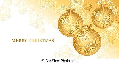 gouden,  Vector,  Baubles, kaart, Kerstmis