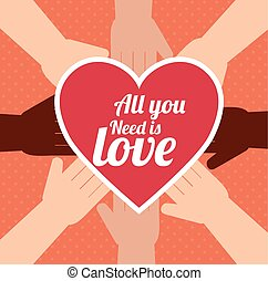 postcard all you need is love hand unity design vector...