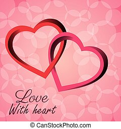 intertwined hearts love with heart icon vector illustration...