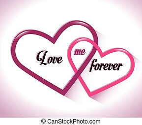 two intertwined hearts love me forever vector illustration...