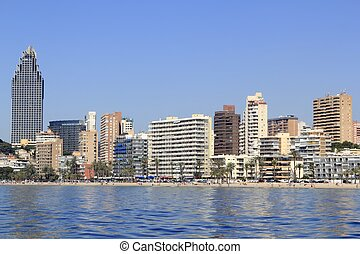 Benidorm Alicante Privince beach from sea - Benidorm...