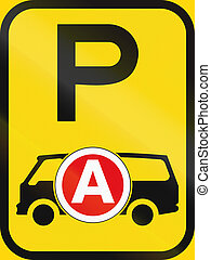 Temporary road sign used in the African country of Botswana - Parking for ambulances / emergency vehicles