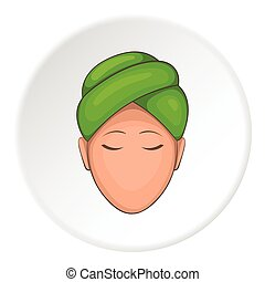 Face of girl on Spa icon, cartoon style