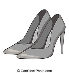 Women high heeled shoes icon. Gray monochrome illustration...