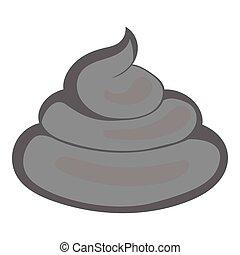 Turd icon, gray monochrome style - Turd icon. Gray...