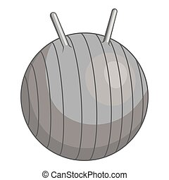 Fitball icon, gray monochrome style - Fitball icon. Gray...