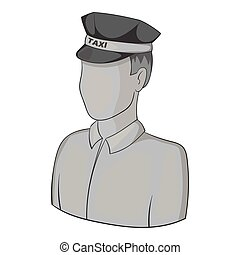Taxi driver icon, gray monochrome style - Taxi driver icon....