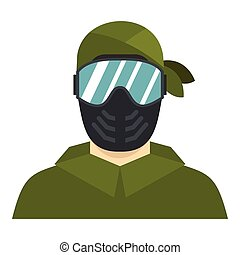 Paintball player icon, flat style - Paintball player icon....