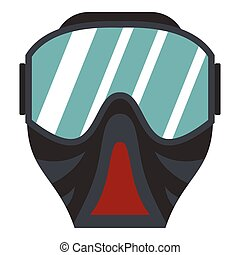 Paintball mask icon, flat style - Paintball mask icon. Flat...