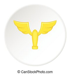 Gold cup with wings icon, cartoon style