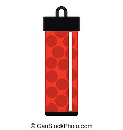 Red pack with paintball bullets icon, flat style - Red pack...
