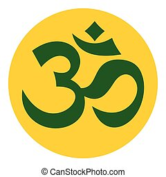 Om sign icon, flat style