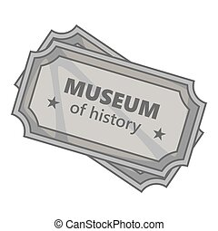 Sign museum of history icon, gray monochrome style - Sign...