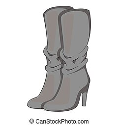 Women boots high heel icon, gray monochrome style