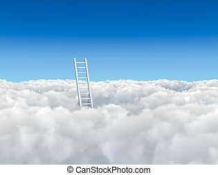 Ladder to the clouds concept image.