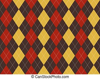 Brown red yellow argyle texture seamless pattern