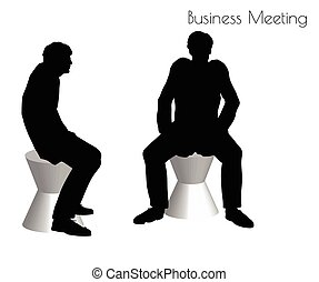 man in Business Meeting pose - EPS 10 vector illustration of...
