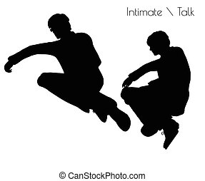 man in Conversation Intimate Talk pose - EPS 10 vector...