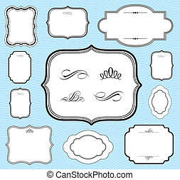 Vector Blue Frame Set - Vector frame set and seamless...