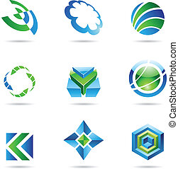 Abstract blue and green Icon Set 20 - Abstract blue and...
