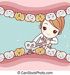 cartoon tooth dental implantation concept - cute cartoon...