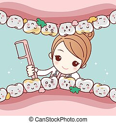 cartoon dentist doctor clean tooth - cute cartoon dentist...