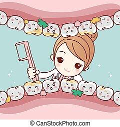 cartoon dentist doctor clean tooth - cute cartoon dentist...