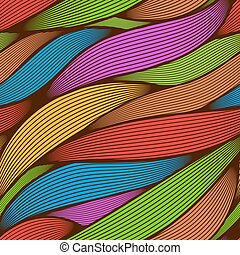 Seamless abstract colorful line art leaves vector background.