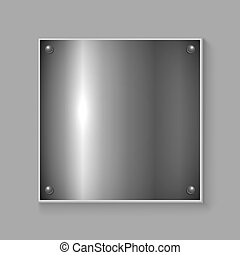 Square metal plate industrial vector background.