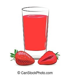 Vector illustration of fresh strawberry juice