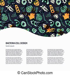 Bacteria - Vector background with bacterial, cells, virus...