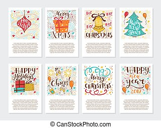 Christmas greetings cards - Vector big set of New Year and...
