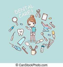 dentist doctor with dentist tools - cute cartoon dentist...