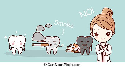 cartoon woman dentist with cigarette and white teeth