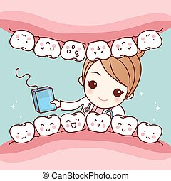 dentist with floss and tooth - cute cartoon dentist doctor...